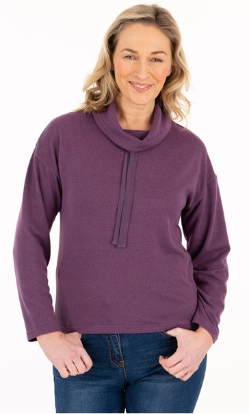 Supersoft Relaxed Cowl Neck Brushed Top Plum