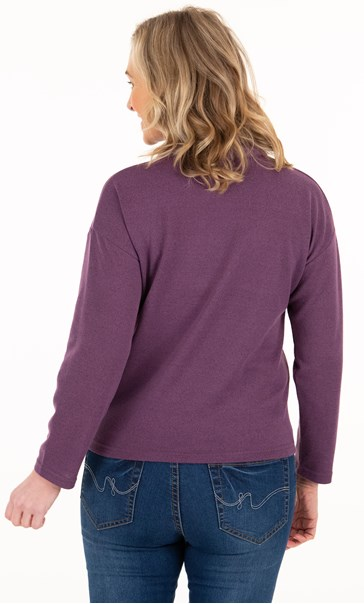 Supersoft Relaxed Cowl Neck Brushed Top Plum - Gallery Image 2