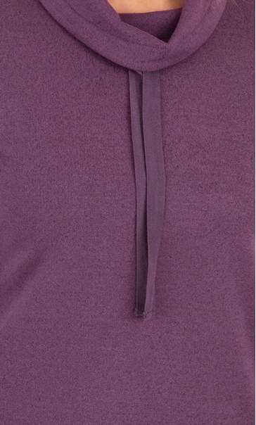 Supersoft Relaxed Cowl Neck Brushed Top Plum - Gallery Image 3