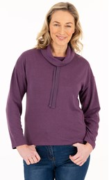 Supersoft Relaxed Cowl Neck Brushed Top