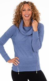 Supersoft Cowl Neck Zip Detail Top