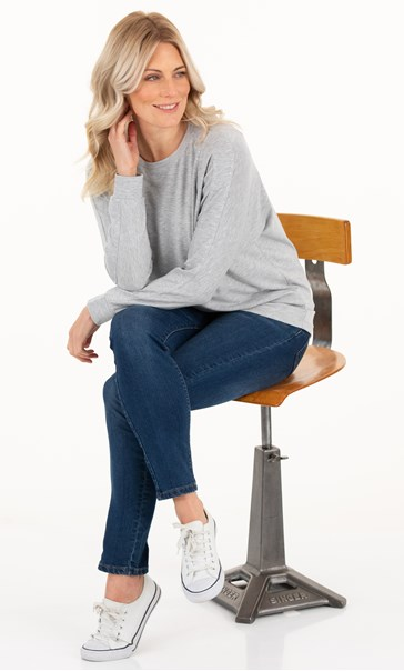 Cosy Embellished Long Sleeve Top Pale Grey