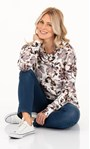 Supersoft Floral Printed Cowl Neck Sweatshirt Ivory Floral - Gallery Image 1