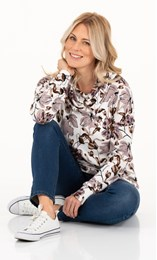 Supersoft Floral Printed Cowl Neck Sweatshirt