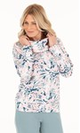 Cosy Floral Printed Cowl Neck Sweatshirt Pink/Soft Green - Gallery Image 2