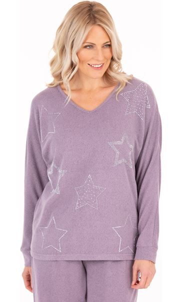 Supersoft Brushed Star Print Top - Purple