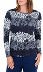 Anna Rose Knitted Top Navy/Blue/Grey - Gallery Image 2