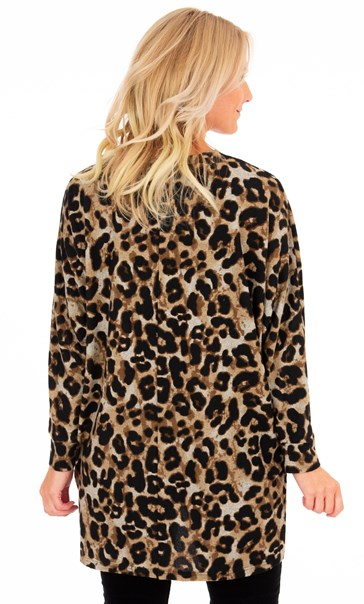Animal Printed Brushed Knit Cover Up Beige/Brown