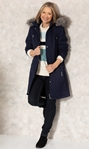 Anna Rose Longline Quilted Parka Coat Midnight - Gallery Image 1