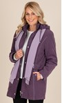 Anna Rose Coat With Scarf Damson - Gallery Image 1