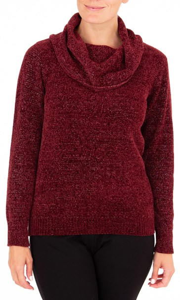 Anna Rose Cowl Neck Chenille Knit Top - Red