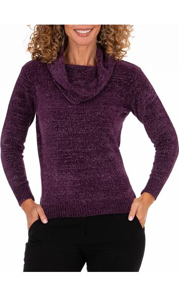 Anna Rose Cowl Neck Chenille Top Purple
