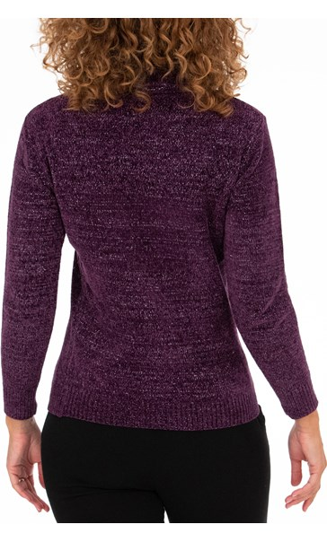 Anna Rose Sparkle Cowl Neck Top - Purple