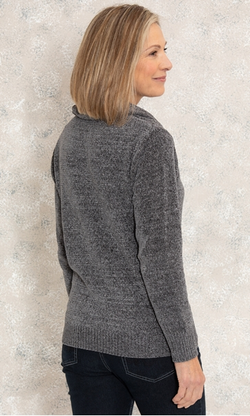 Anna Rose Sparkle Cowl Neck Top - Charcoal