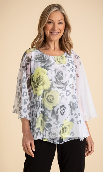 Anna Rose Embellished Floral Top Ivory/Black/Yellow