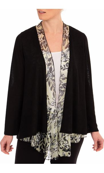 Anna Rose Chiffon Trim Knitted Cover Up Black