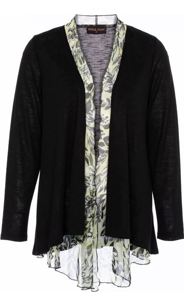 Anna Rose Chiffon Trim Knitted Cover Up Black - Gallery Image 3