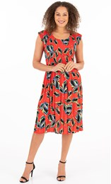 Leaf Printed Pleat Dress