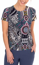 Anna Rose Printed Short Sleeve Top