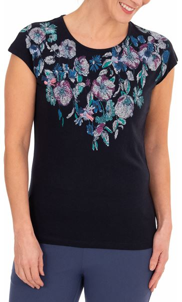 Anna Rose Placement Printed Top Navy/Multi