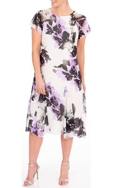 Anna Rose Floral Printed Chiffon Midi Dress Ivory/Black/Lilac - Gallery Image 1