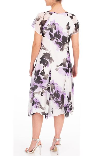 Anna Rose Floral Printed Chiffon Midi Dress Ivory/Black/Lilac - Gallery Image 2