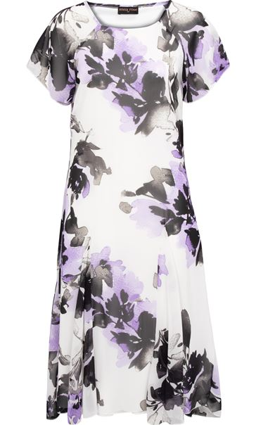 Anna Rose Floral Printed Chiffon Midi Dress Ivory/Black/Lilac - Gallery Image 3