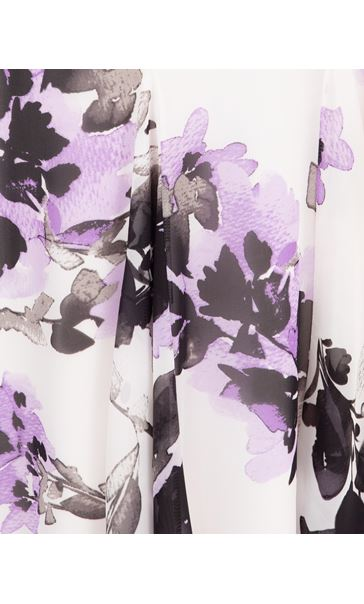 Anna Rose Floral Printed Chiffon Midi Dress Ivory/Black/Lilac - Gallery Image 4
