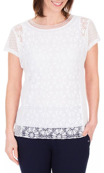 Anna Rose Short Sleeve Lace Top White