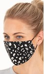 Double Layer Cotton Animal Print Face Covering Black White - Gallery Image 2