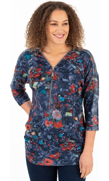 Printed And Embellished Tunic Blues