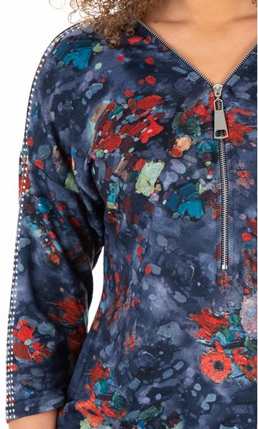 Printed And Embellished Tunic Blues - Gallery Image 3
