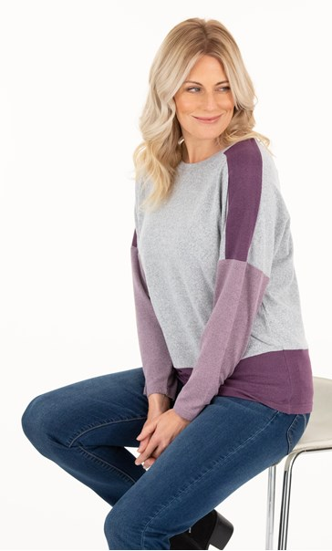 Supersoft brushed Colourblock Raglan Top - Grey/Plum