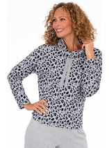 Supersoft Animal Print Cowl Neck Lounge Top
