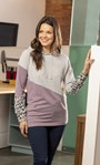 Supersoft Asymmetric Colour Block Hoodie Grey/Lavender - Gallery Image 1
