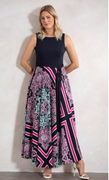 Tile Printed Sleeveless Maxi Dress