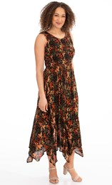 Printed Smocked Maxi Dress