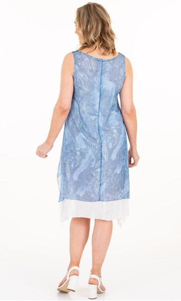 Sleeveless Printed Chiffon Layered Dress - Blue