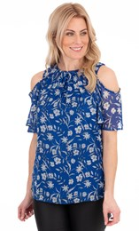 Cold Shoulder Printed Chiffon Top
