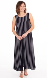 Striped Sleeveless Layered Maxi Dress