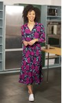 Floral Print And Pleated Long Sleeve Midi Dress Midnight/Pink - Gallery Image 1
