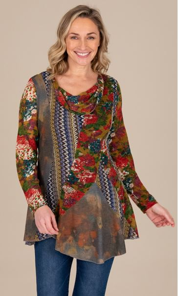 Knitted Printed Tunic Red/Blue - Gallery Image 2