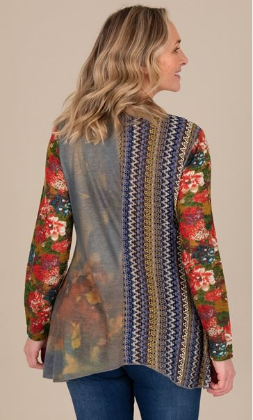 Knitted Printed Tunic Red/Blue - Gallery Image 3