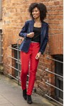 Slimline Stretch Trousers Red - Gallery Image 1