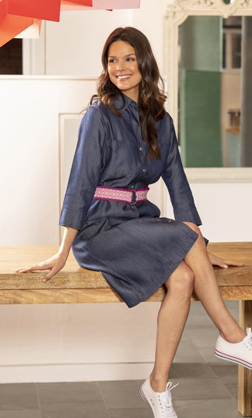 Belted Denim Shirt Dress