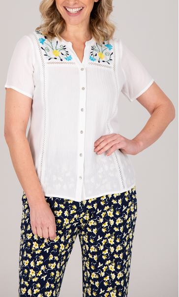 Anna Rose Embroidered Crinkle Blouse White/Multi