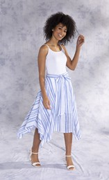 Striped Hanky Hem Cotton Midi Skirt