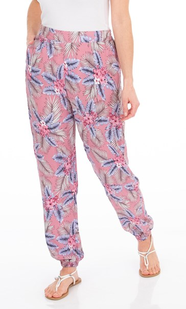 Botanical Printed Trousers Dusky Pink