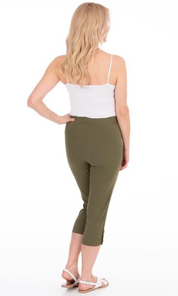 Cropped Pull On Stretch Trousers Olive - Gallery Image 3