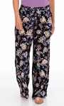 Floral Printed Pull On Trousers Black/Lilac/Yellow - Gallery Image 1
